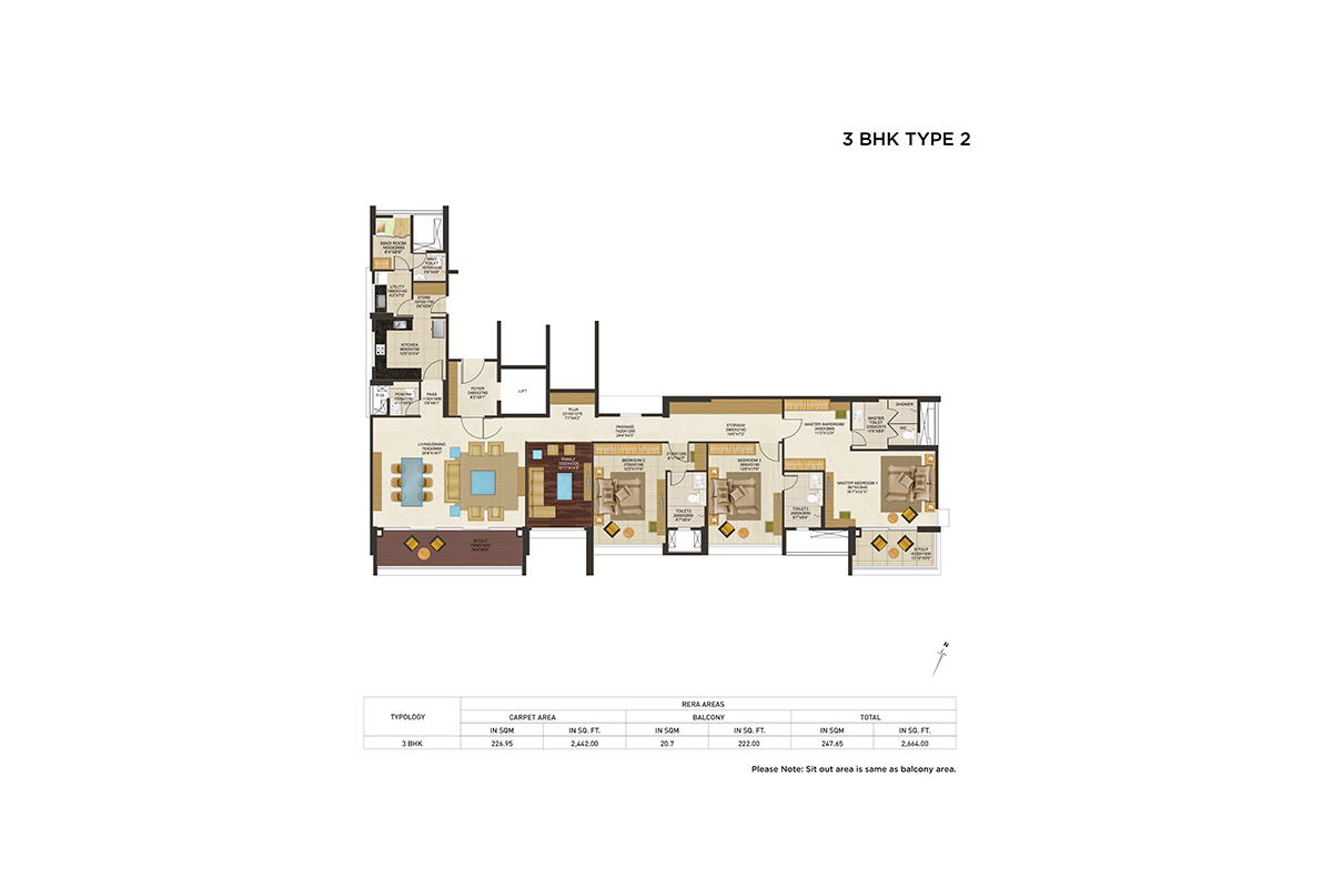 3BHK Floor Plan